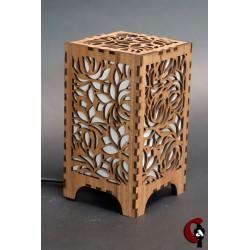 Lampe motif fleurs (bois)