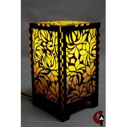 Lampe motif fleurs (jaune)
