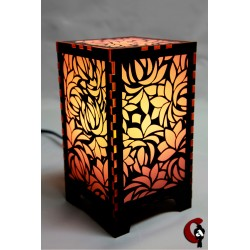 Lampe motif fleurs (rouge)