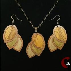 Parure feuilles, bois teintés